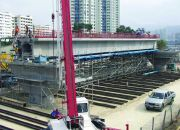 Span by span erection on falsework